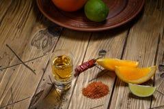 Mezcal tiró con las rebanadas y la sal anaranjadas del gusano Bebida mexicana Imagenes de archivo