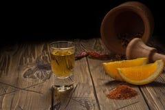 Mezcal tiró la bebida mexicana con la sal anaranjada de las rebanadas, del chile y del gusano en Oaxaca México Fotografía de archivo libre de regalías