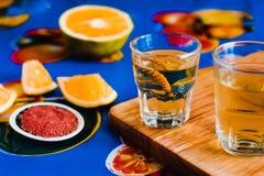 Mezcal tir? con la sal y el gusano del agavo, bebida mexicana del chile en M?xico imagen de archivo libre de regalías
