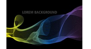 Mezcla abstracta del color con el fondo negro stock de ilustración