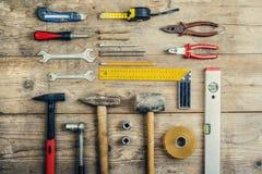 Mezcla de herramientas del trabajo Foto de archivo libre de regalías