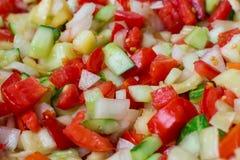 Mezcla de la ensalada de las verduras frescas de tomates cortados, cebollas, pimientas, c Fotografía de archivo libre de regalías