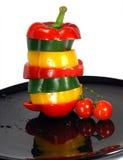 Mezcla de la pimienta y tomate de cereza Imágenes de archivo libres de regalías