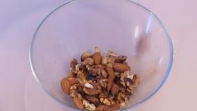 Mezcla de las nueces Anacardo Pistaches almendra Tuercas clasificadas almacen de video