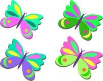 Mezcla de mariposas coloreadas Imágenes de archivo libres de regalías