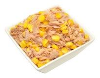 Mezcla de Tuna Fish And Sweet Corn en plato Imagenes de archivo