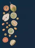 Mezcla del andcitrus de la fruta fresca en negro: pedazos de pera, mandarín; GR Imagen de archivo