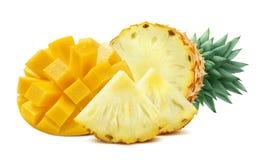 Mezcla del corte de la piña del mango aislada en el fondo blanco Imagen de archivo