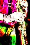 Mezcla del saxofón de notas musicales Fotos de archivo
