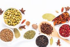 Mezcla herbaria exótica del concepto de la comida del cardamomo orgánico po de las especias Imagen de archivo
