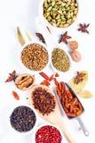 Mezcla herbaria exótica del concepto de la comida del cardamomo orgánico po de las especias Imagenes de archivo