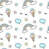 Mezcla inconsútil colorida linda del ejemplo del fondo del modelo con el bubbl del arco iris, del helado, de las pestañas, del co Imagen de archivo