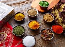 Mezcla india de las especias de la cocina como curry del coriandro Imágenes de archivo libres de regalías