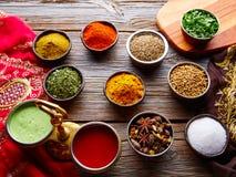 Mezcla india de las especias de la cocina como curry del coriandro Fotografía de archivo