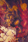 Mezcla roja de oro de la pintura   foto de archivo libre de regalías