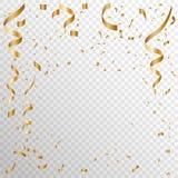 Mezcla serpentina del oro del confeti ilustración del vector