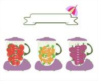 Mezclador con arte fresco de las frutas de las rebanadas Imagen de archivo libre de regalías