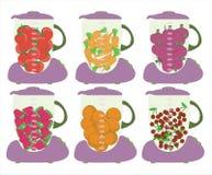 Mezclador con arte fresco de las frutas de las rebanadas Fotografía de archivo
