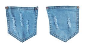 Mezclilla azul de los bolsillos del dril de algodón con rasgado rasgado imagen de archivo