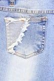 Mezclilla del bolsillo imagen de archivo libre de regalías