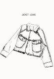 Mezclilla a mano de la chaqueta del dril de algodón del bosquejo del objeto Foto de archivo