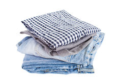 Mezclilla y camisa azules del dril de algodón Foto de archivo