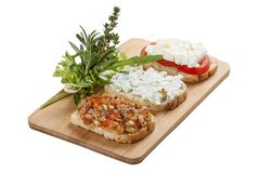 Mezedepolion - Greek meze. A traditional dish. Greek snacks with croutons stock images