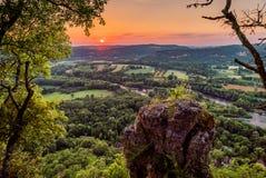 Mezel in Dordogne valley. Dordogne river taken from the cliffs above Mezels in Dordogne valley at sunset Stock Photos