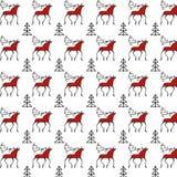 Mezen-Muster mit Rotwild Lizenzfreie Stockfotos