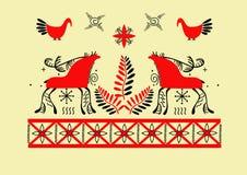 Mezen painting. Mezensky deer,birds,plants,patterns on a yellow background Stock Photos