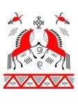 Mezen painting. Mezensky horses,birds,patterns on a white background Stock Photo