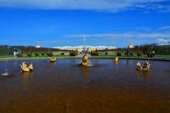 Mezheumny springbrunn i Peterhof, St Petersburg, Ryssland Fotografering för Bildbyråer