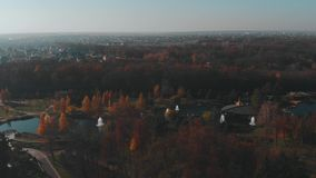 Mezhyhirya Residence, Ukraine, aerial fly above at autumn stock footage