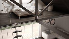 Mezoninu loft sypialnia, schodki i utrzymanie z kanapą, minimalista fotografia royalty free