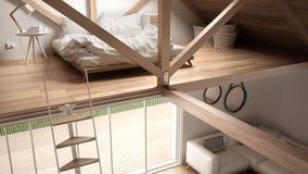 Mezoninu loft sypialnia, schodki i utrzymanie z kanapą, minimalista Zdjęcia Stock
