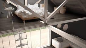 Mezoninu loft sypialnia, schodki i utrzymanie z kanapą, minimalista Obraz Royalty Free