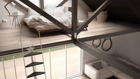 Mezoninu loft sypialnia, schodki i utrzymanie z kanapą, minimalista Zdjęcie Stock