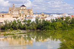 Mezquita Cathedral by the River in Cordoba Stock Images