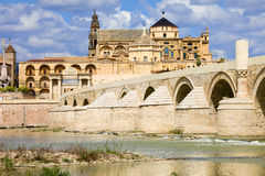 Mezquita Cathedral and Roman Bridge in Cordoba Stock Photos