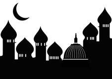 Mezquita con la luna ilustración del vector
