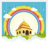 Mezquita de la historieta con el arco iris en el cielo y la nube