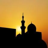Mezquita de la puesta del sol paisaje con las mezquitas y los alminares hermosos VE ilustración del vector