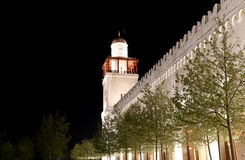 Mezquita de rey Hussein Bin Talal en Amman (en la noche), Jordania Fotografía de archivo