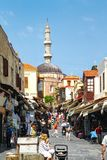Mezquita de Suleiman en la capital de la isla de Rodas fotos de archivo