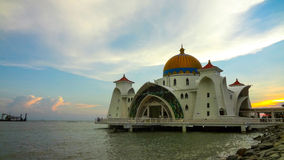Mezquita del estrecho, Malaca Malasia Fotografía de archivo