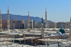 Mezquita del profeta en el cierre de Medina para arriba Imagen de archivo libre de regalías