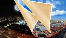 Mezquita del profeta en la noche y mediodía y tarde Fotografía de archivo