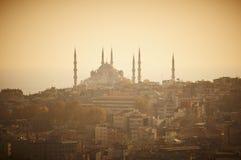 Mezquita el tiempo de la puesta del sol, Estambul Turquía de Sultanahmet Imagen de archivo