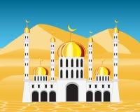 Mezquita en desierto stock de ilustración