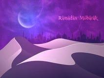 Mezquita en el desierto para Ramadan Mubarak Imagenes de archivo